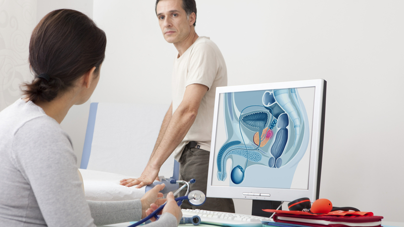 The doctor massages the prostate cancer